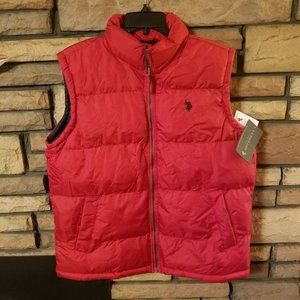 Mens Vest Puffer Style MEDIUM Red US POLO ASSN New